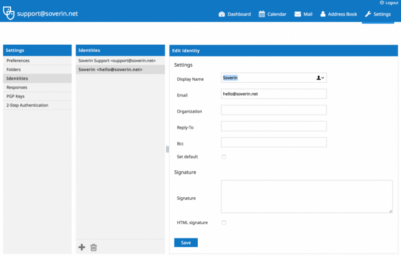 Screenshot van Soverin desktop