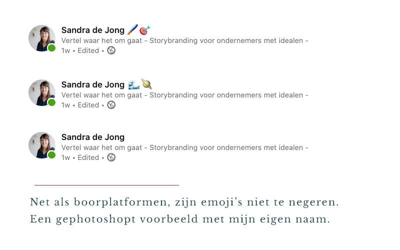 emoji's in een linkedin-naam